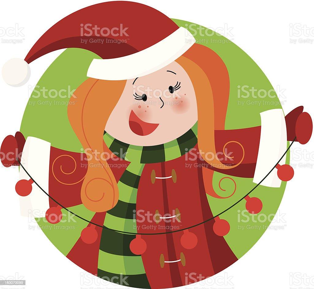 Christmas girl with lights royalty-free stock vector art