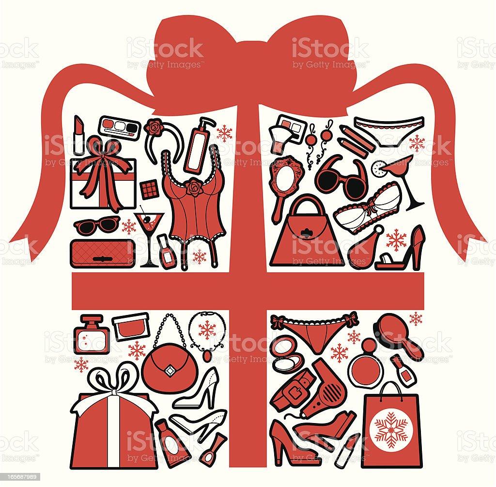 Christmas Girly Gift royalty-free stock vector art