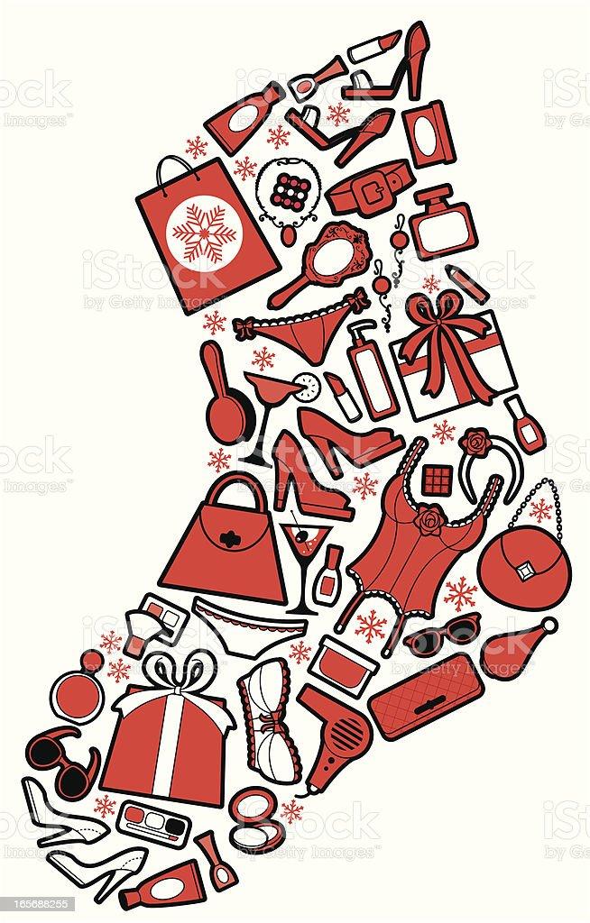 Christmas Girly Stocking royalty-free stock vector art