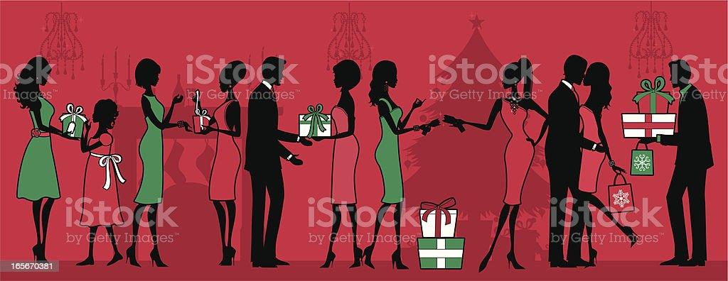 Christmas Giving vector art illustration
