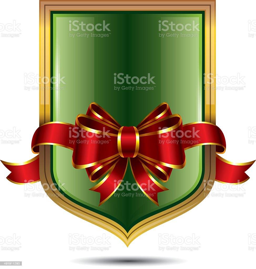 Christmas Glossy Shield vector art illustration