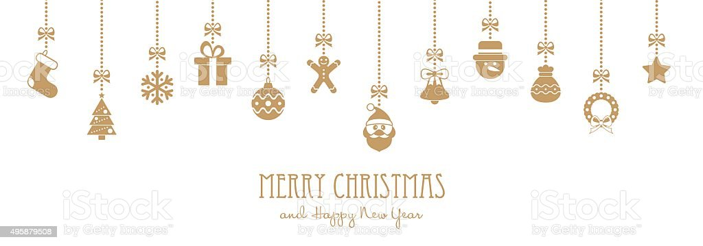 Christmas Golden Hanging Elements and Greeting Text - illustration vector art illustration