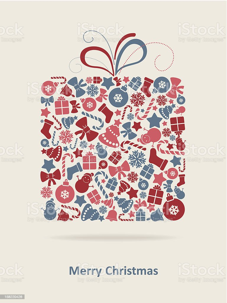 Christmas graphics in the shape of a wrapped gift with a bow royalty-free stock vector art