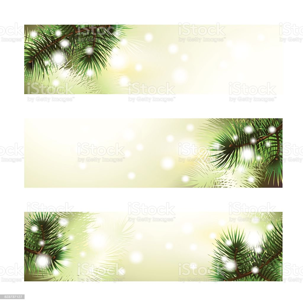 Christmas green banner vector art illustration