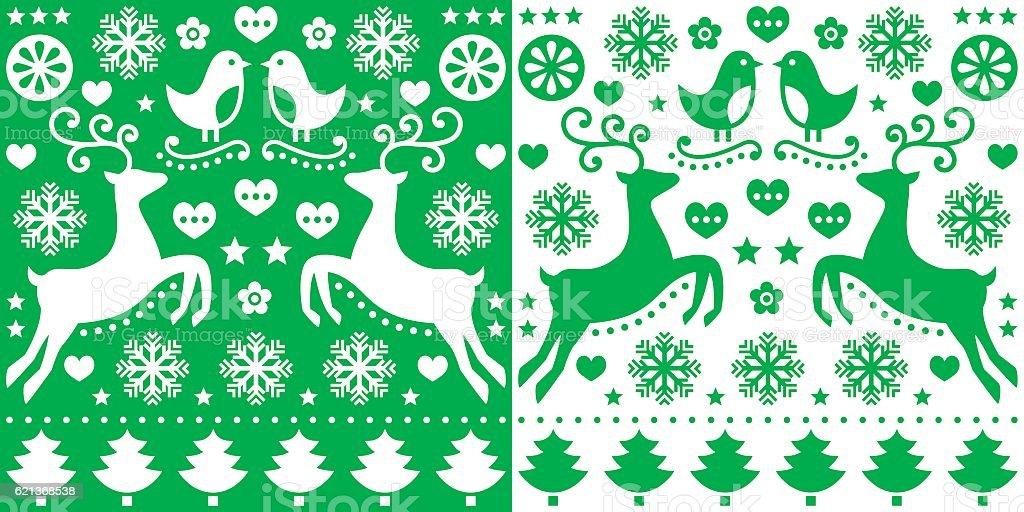 Christmas green pattern with reindeer - folk art style vector art illustration