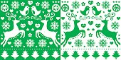 Christmas green pattern with reindeer - folk art style