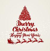 Christmas, greeting card. Beautiful handwritten lettering. Vector illustration