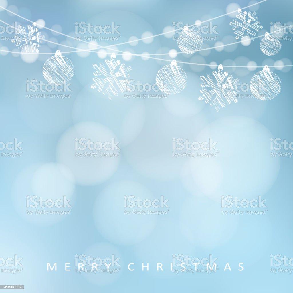 Christmas greeting card, garland of lights, christmas balls, snowflakes, vector vector art illustration