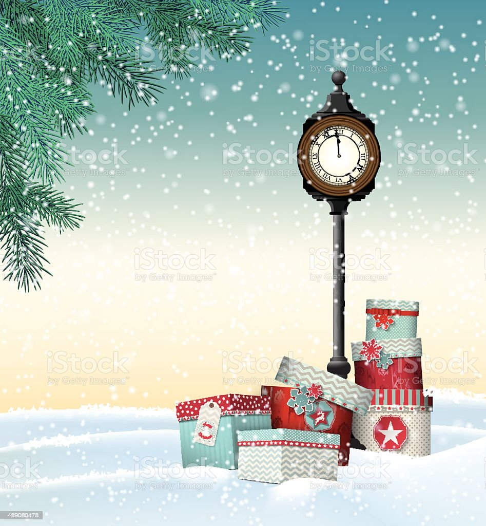 Christmas greeting card, gift boxes with vintage clock in winter vector art illustration