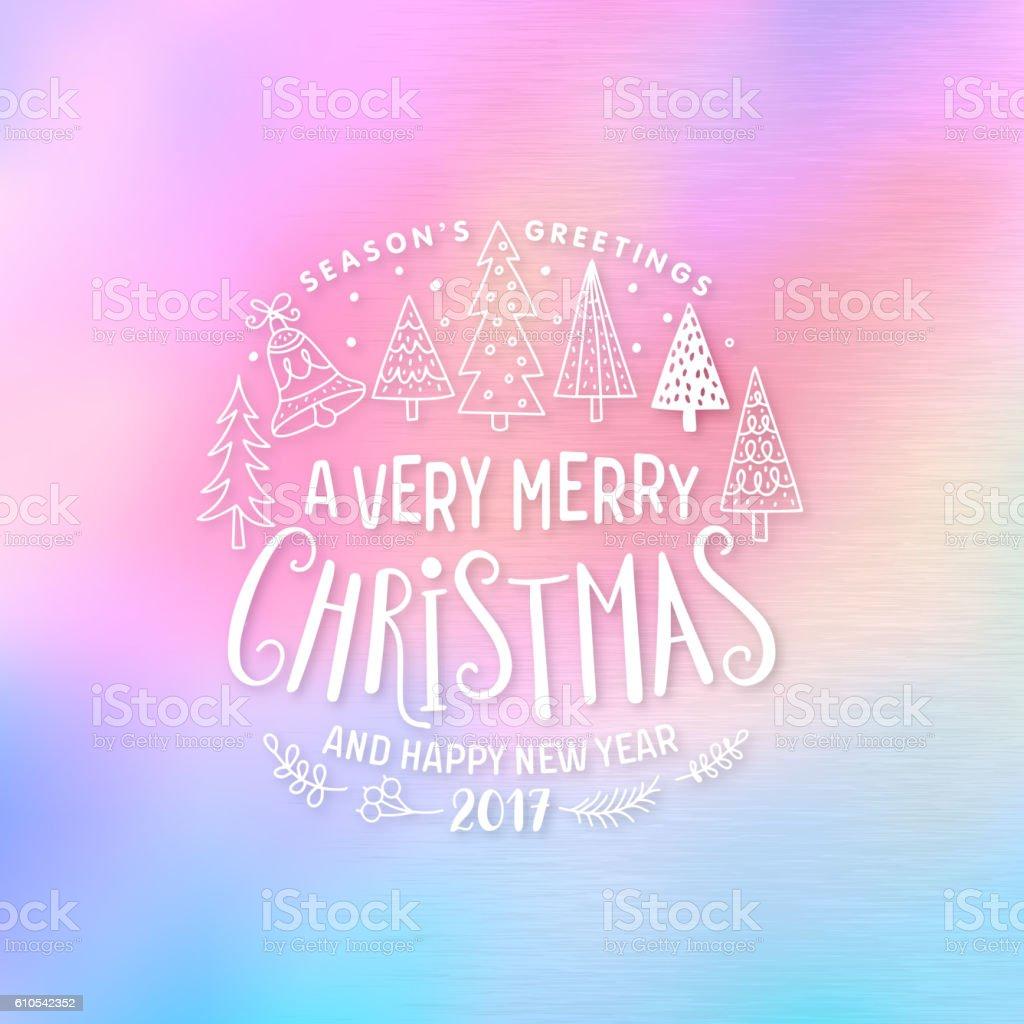 Christmas Greeting Card. Merry Christmas lettering vector art illustration