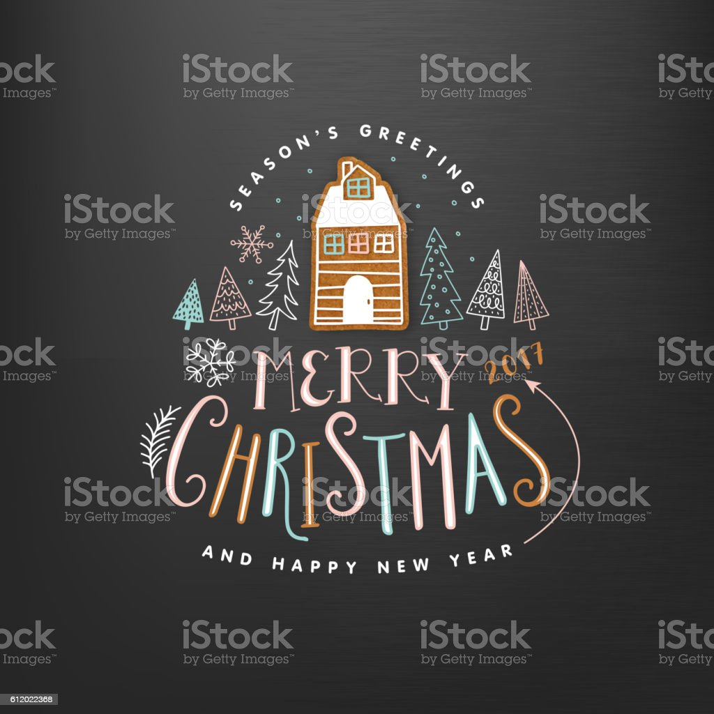 Christmas Greeting Card. Merry Christmas lettering vector art illustration