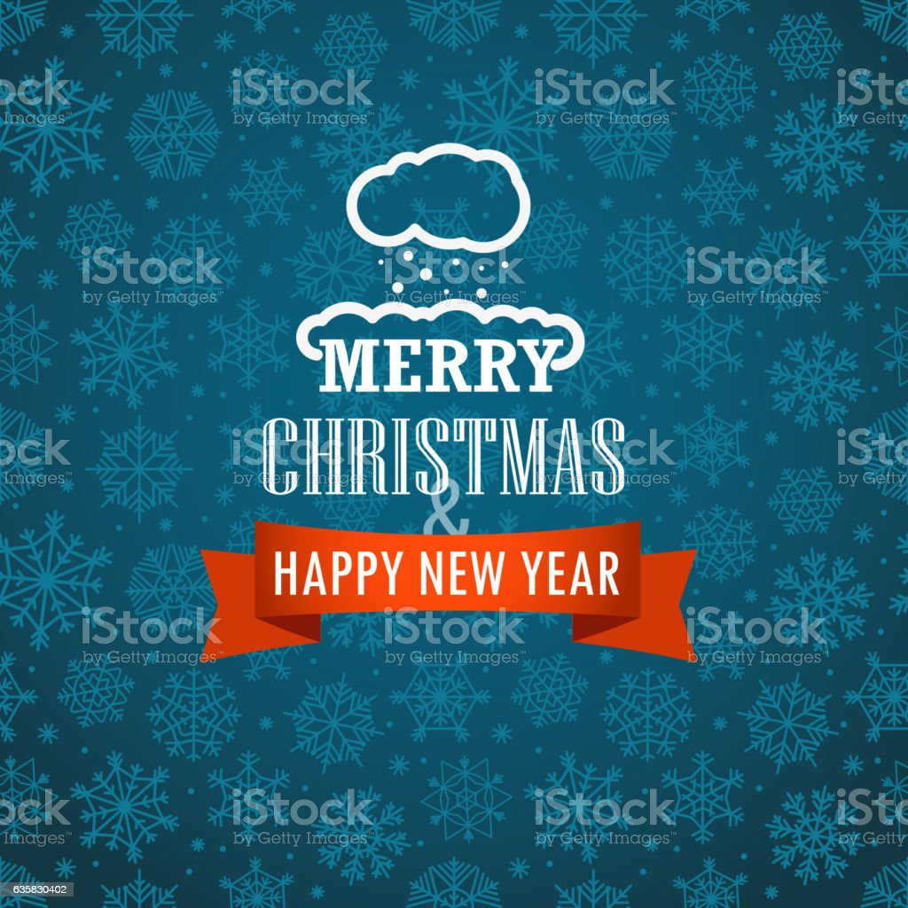 Christmas greeting card on background with snowflakes vector art illustration