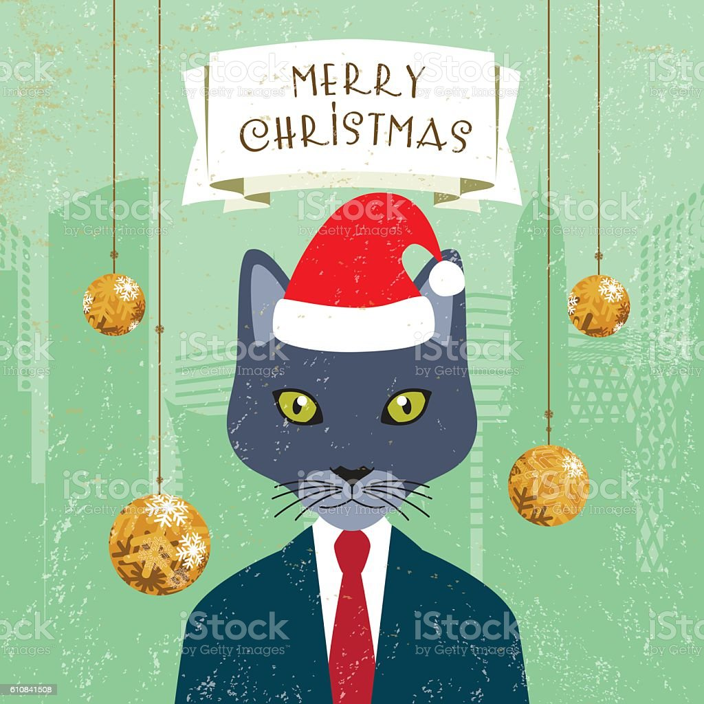 Cat in the hat ornaments - Christmas Greeting Card Santa Klaus Hat Cat Businessman Banner Ornaments Royalty Free Stock Vector Art