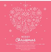 Christmas greeting card template - outlined heartshaped illustration
