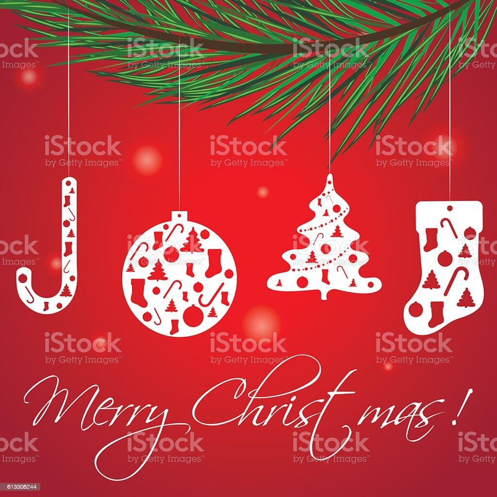 Christmas Greeting Card, vector illustration. vector art illustration