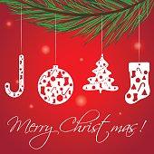 Christmas Greeting Card, vector illustration.