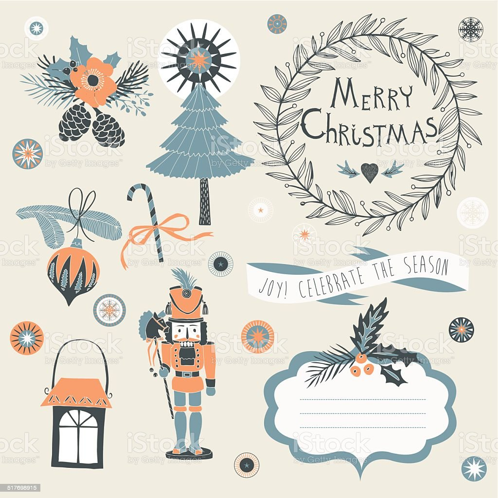 Christmas greeting card with blank cartcouche vector art illustration