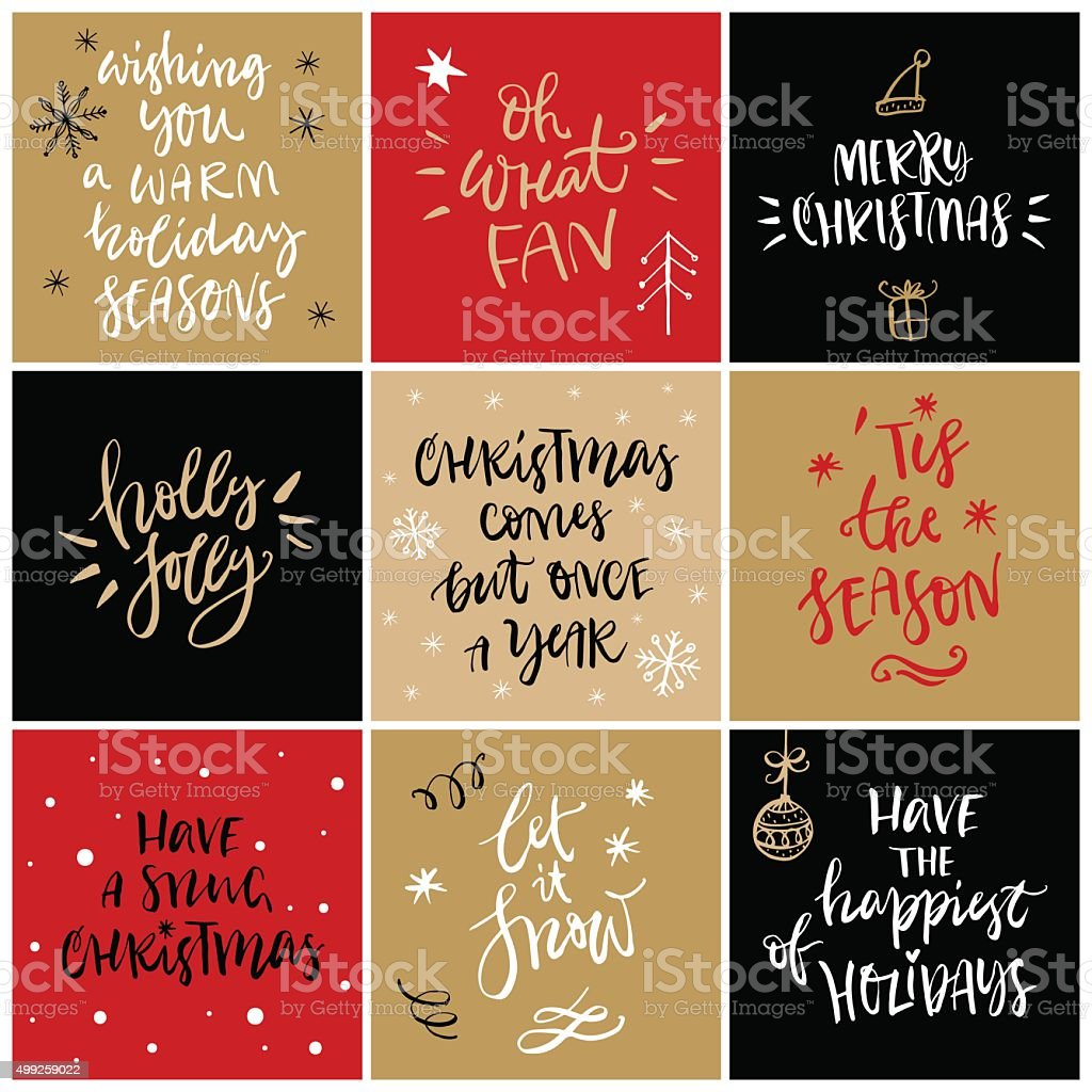 Christmas greeting card with calligraphy. Hand drawn design elements. vector art illustration