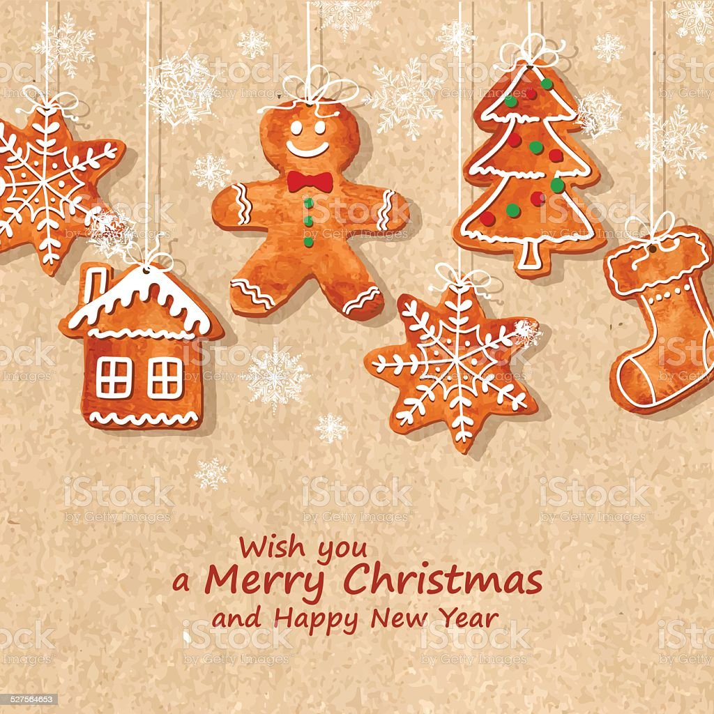 Christmas greeting card with gingerbread cookies vector art illustration