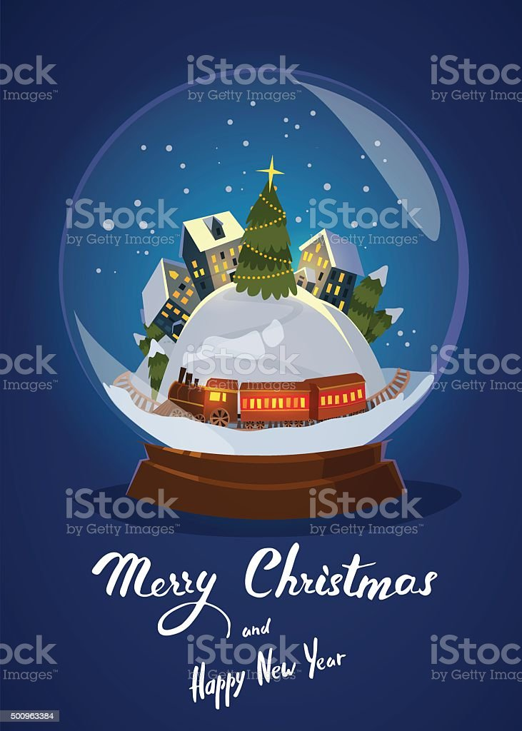 Christmas Greeting Card With Houses and Train in glass snowball vector art illustration