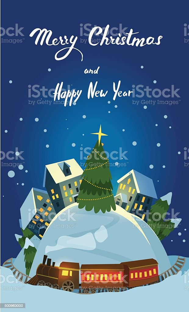 Christmas Greeting Card With Houses and Train vector art illustration