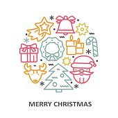 Christmas greeting card with line icons elements.