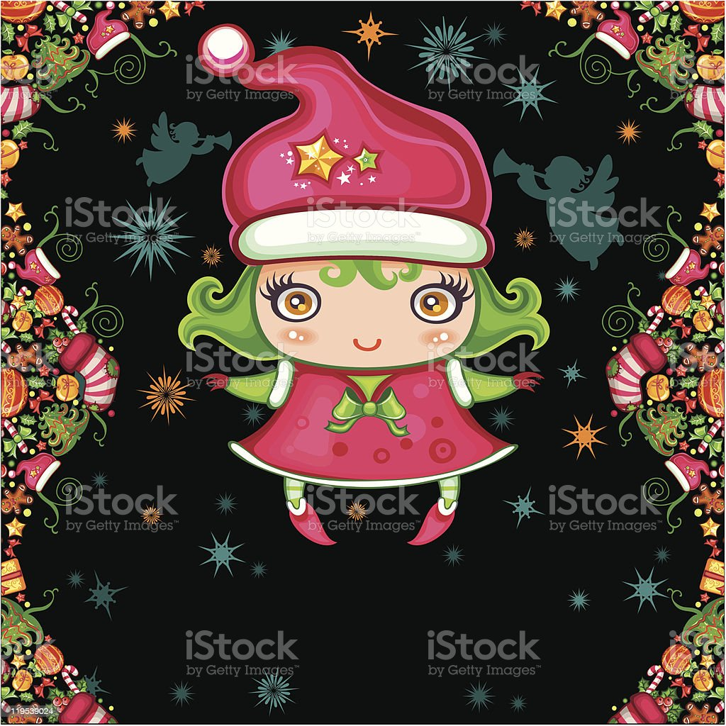 Christmas greeting card with little girl royalty-free stock vector art