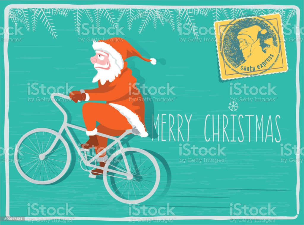 christmas greeting card with santa claus riding on bike stock photo