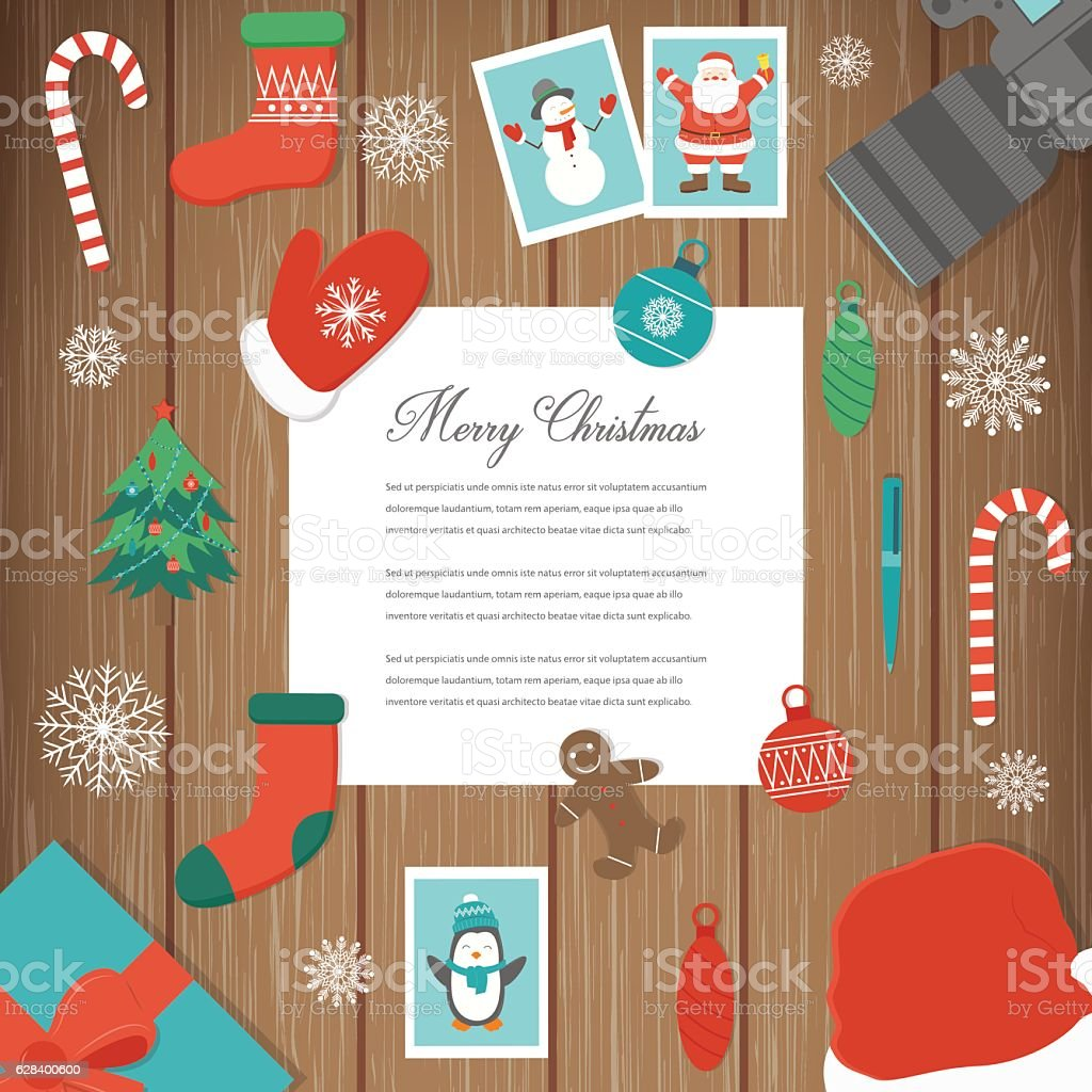 Christmas greeting card with snowlakes and decoration elements. Holidays background. royalty-free stock vector art