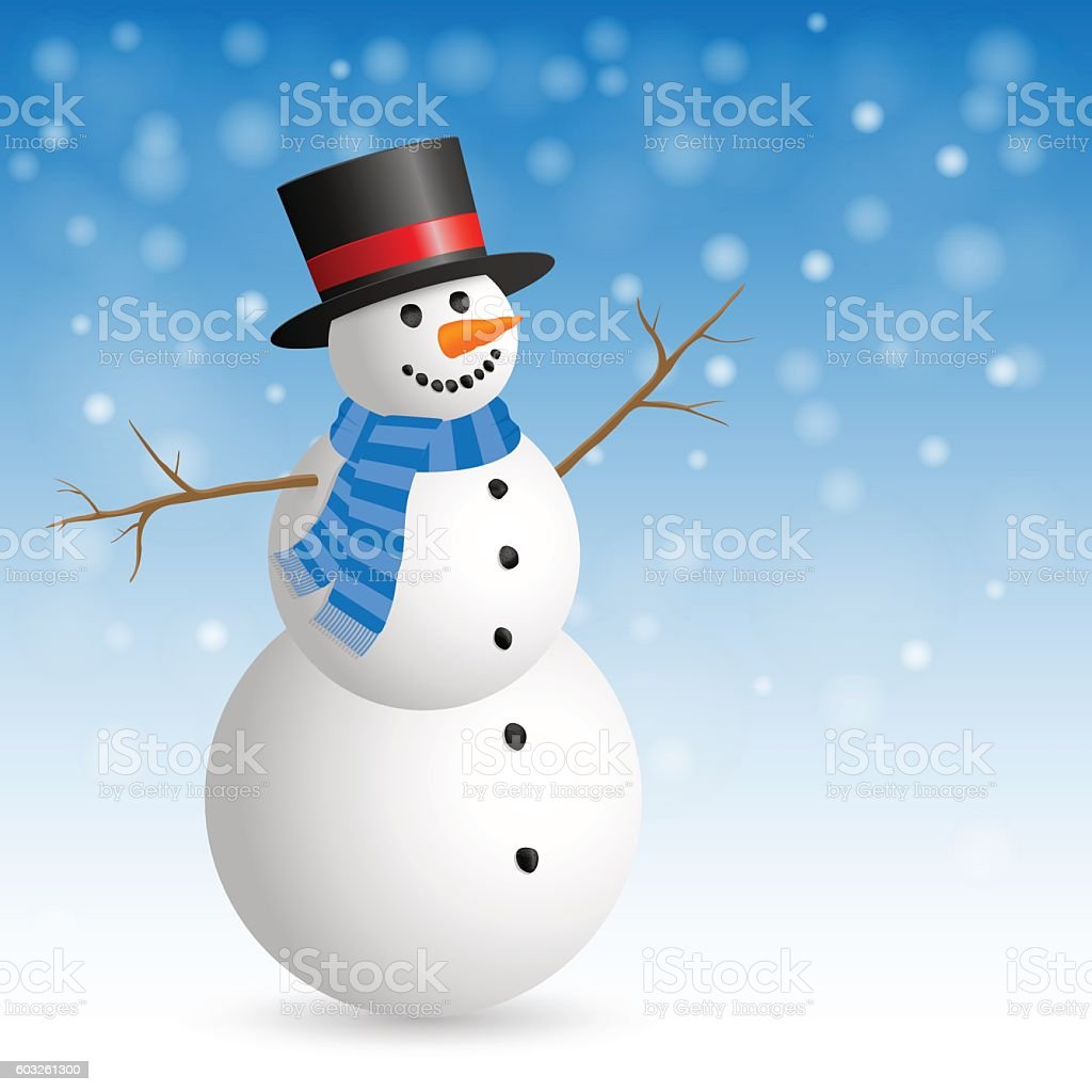 Christmas Greeting Card with snowman. vector art illustration