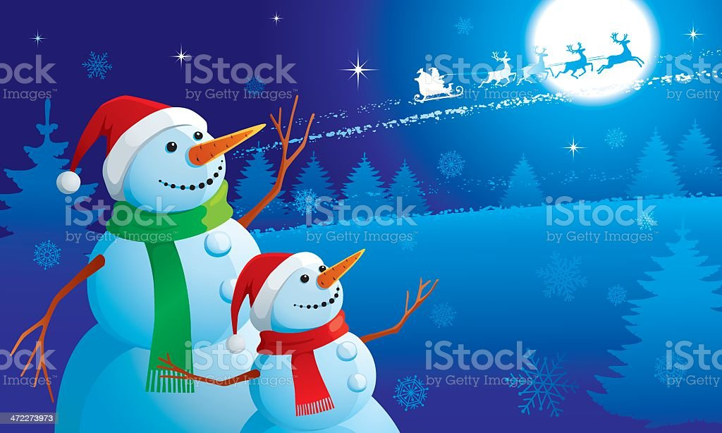 Christmas greeting card with snowmen royalty-free stock vector art