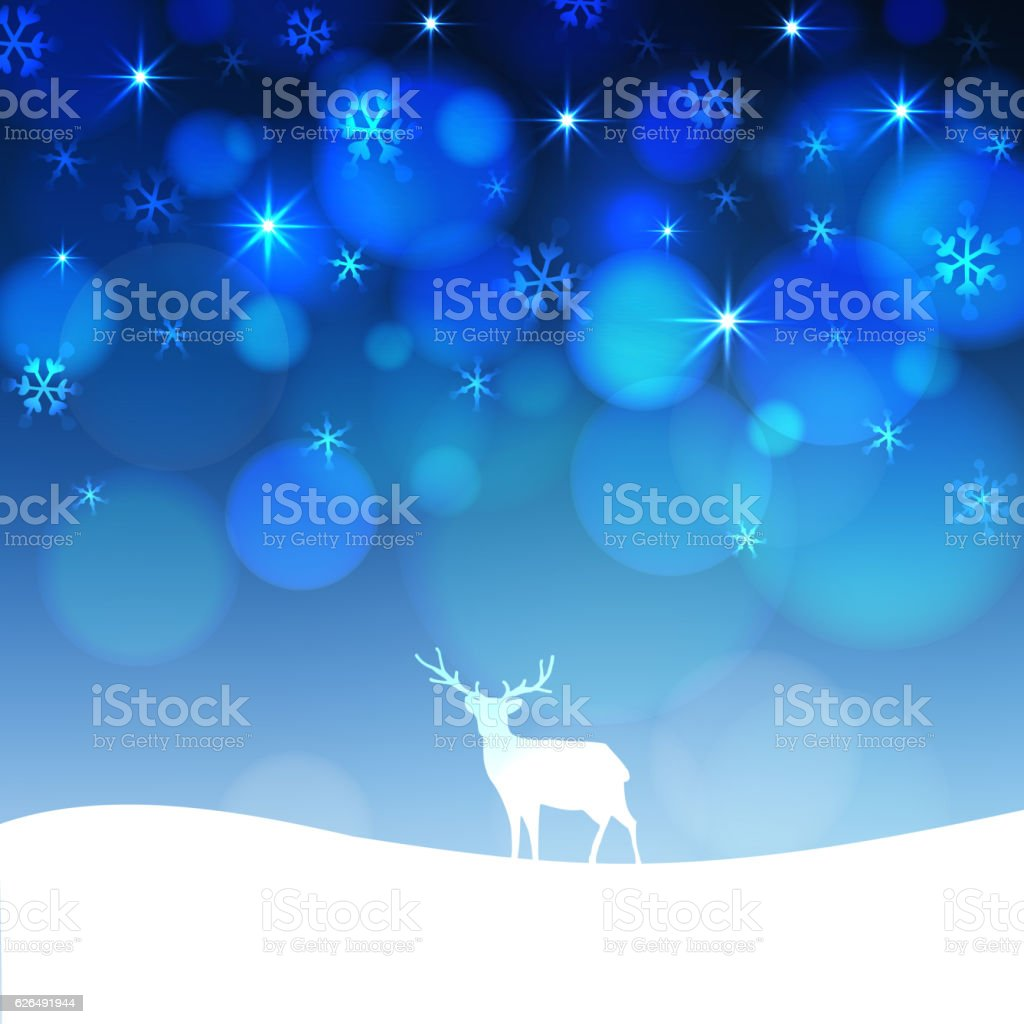 Christmas greeting card with winter landscape and deer silhouette. vector art illustration