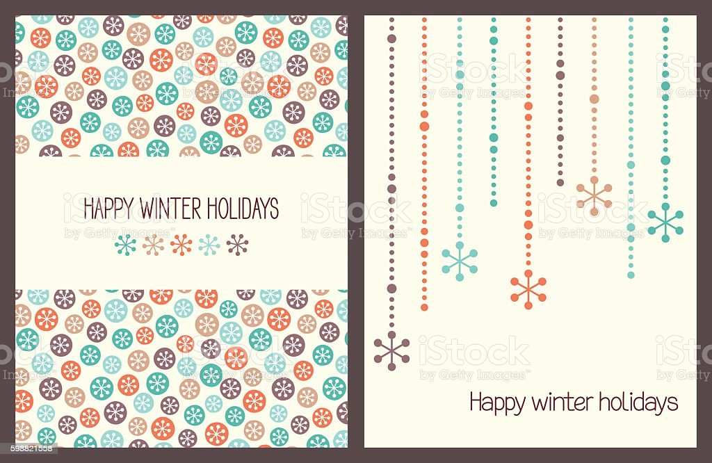 Christmas greeting cards with snowflakes vector art illustration