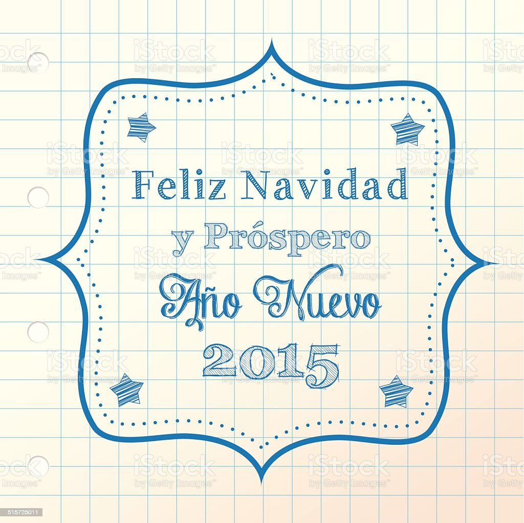 christmas greeting in spanish vector art illustration