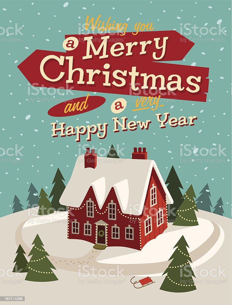 Christmas greeting winter card vector art illustration