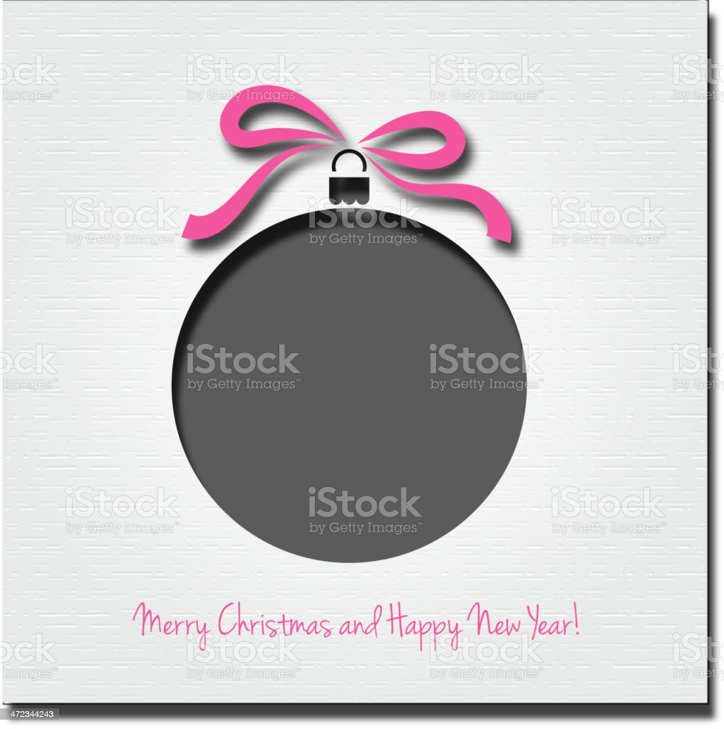Christmas greeting with ball and ribbon royalty-free stock vector art