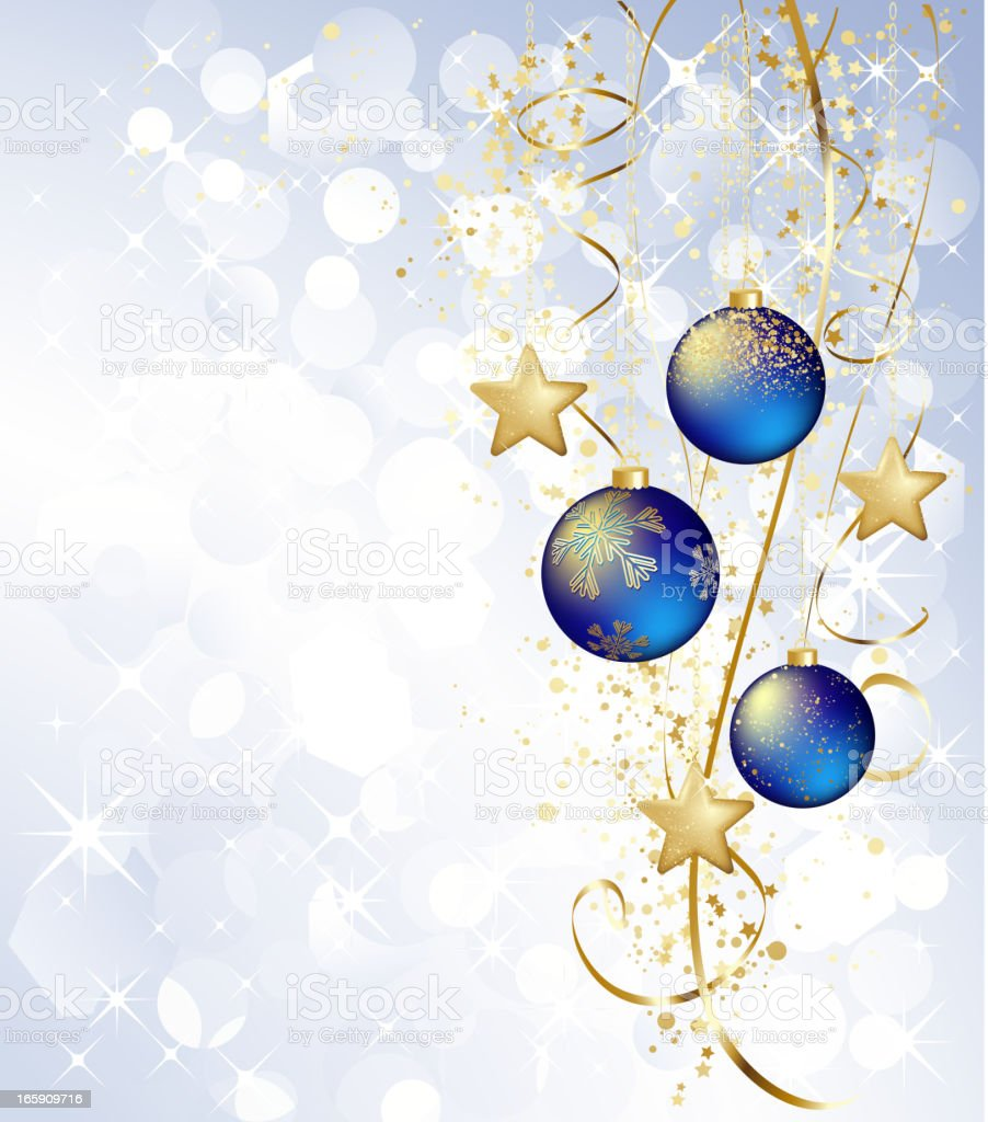 Christmas greeting with blue balls and gold star royalty-free stock vector art