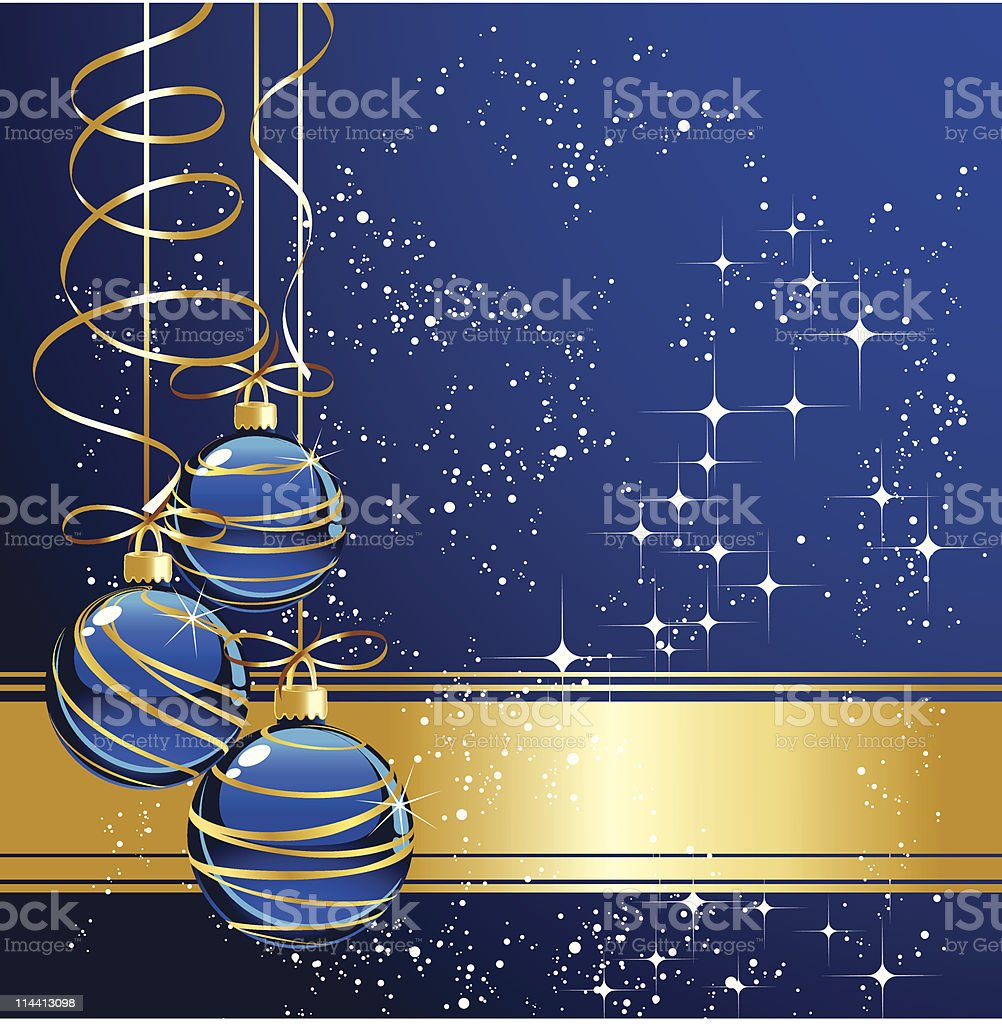 christmas greeting with blue balls vector art illustration