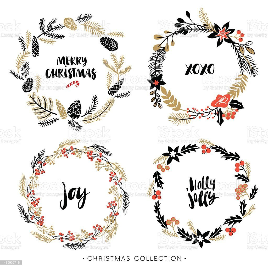 Christmas greeting wreaths with calligraphy. vector art illustration