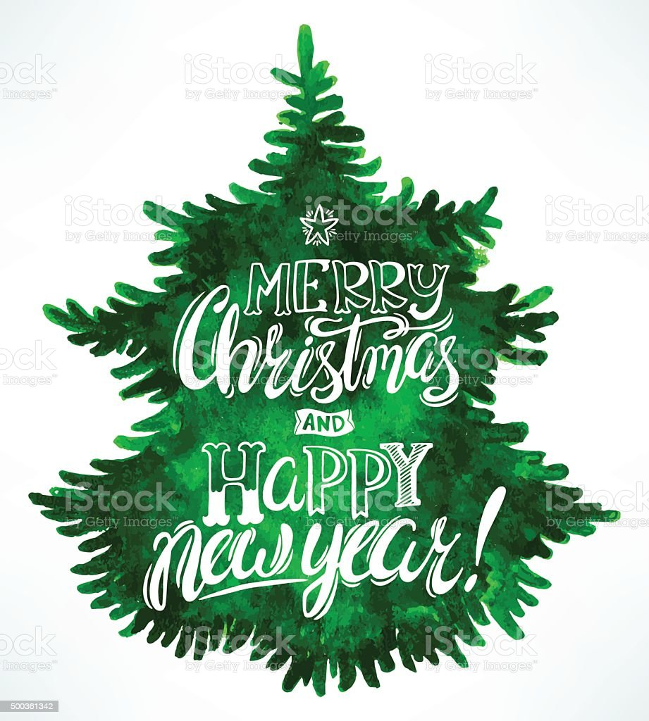 Christmas greetings and tree vector art illustration