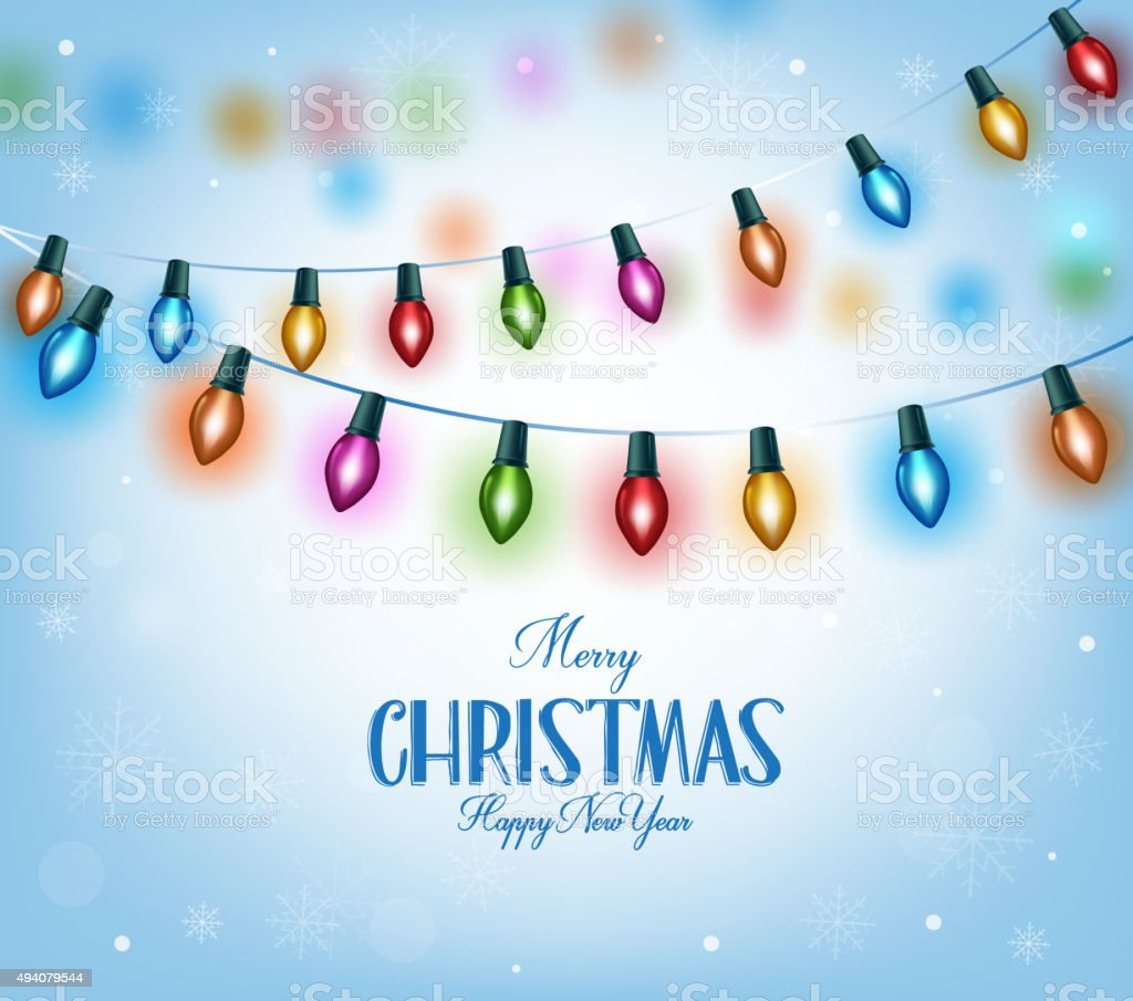 Christmas Greetings in Realistic 3D Colorful Christmas Lights vector art illustration