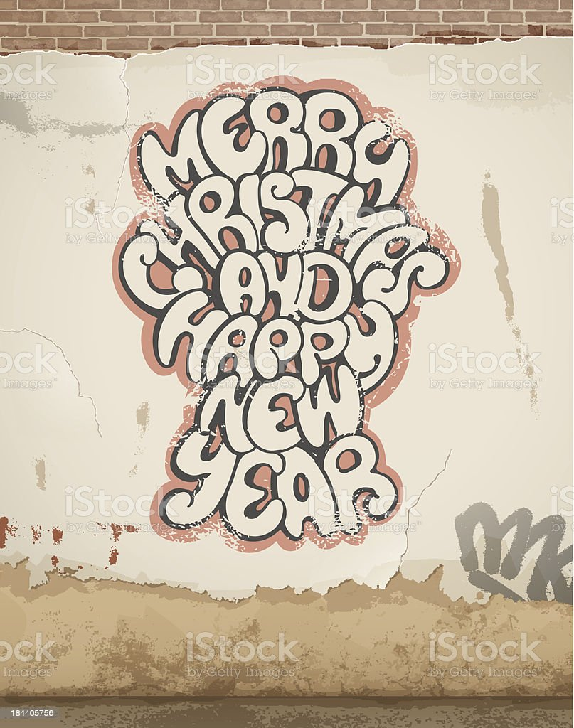 Christmas greetings, spray painted, on old wall. royalty-free stock vector art