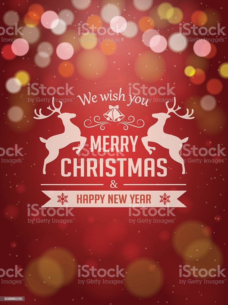 Christmas Greetings Typography on Red Background vector art illustration