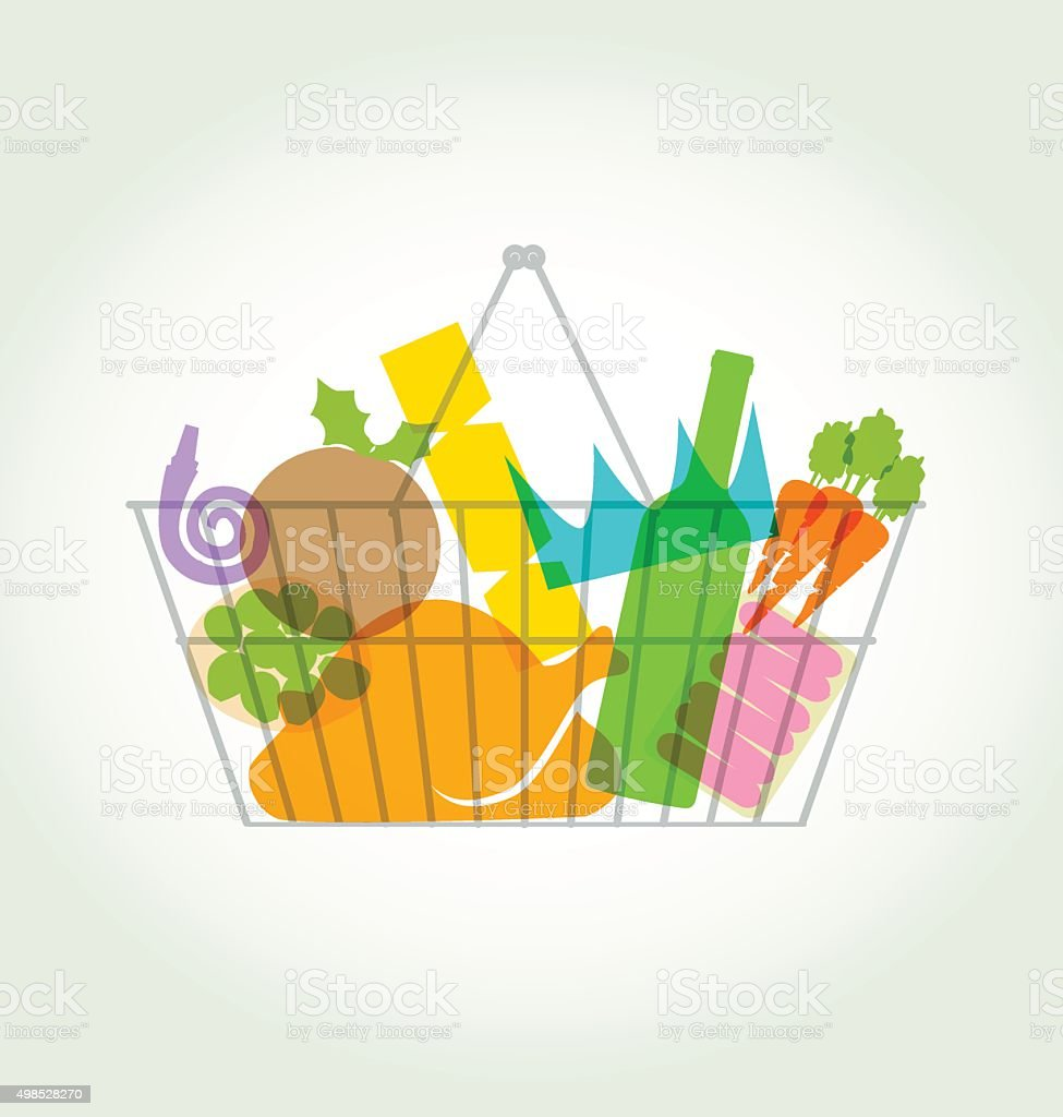 Christmas Groceries silhouettes vector art illustration