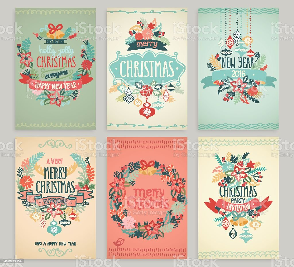 Christmas hand drawn card set. vector art illustration