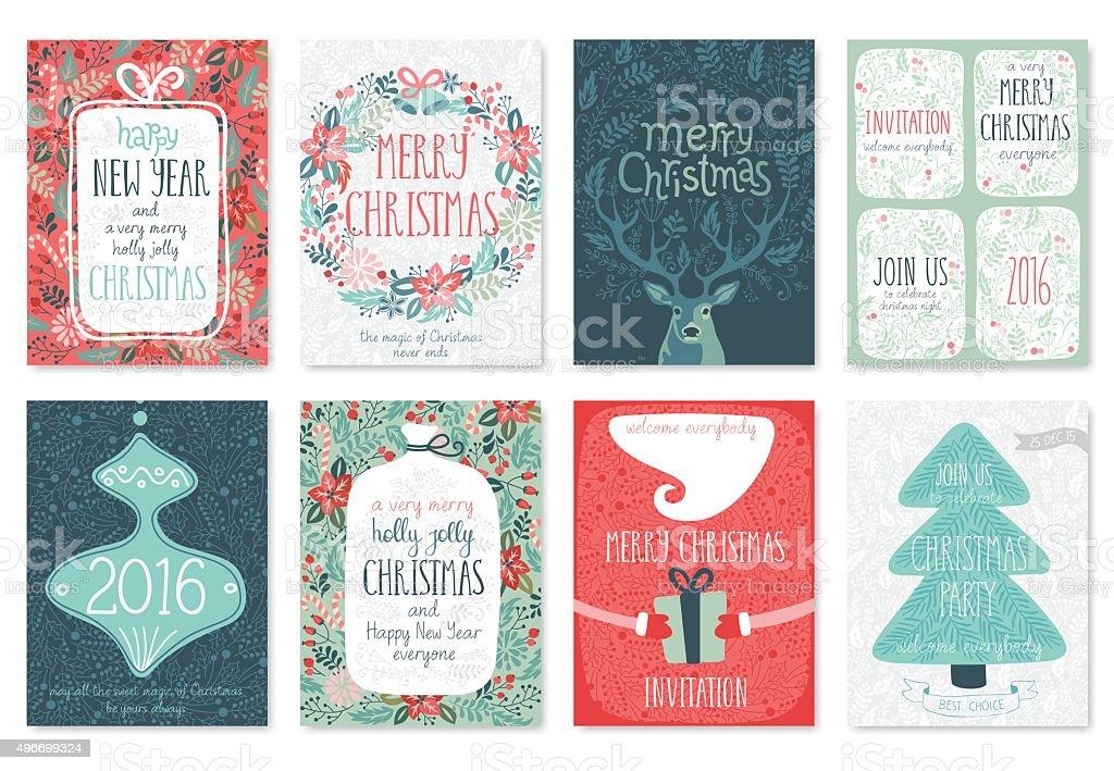 Christmas hand drawn card set. vector art illustration