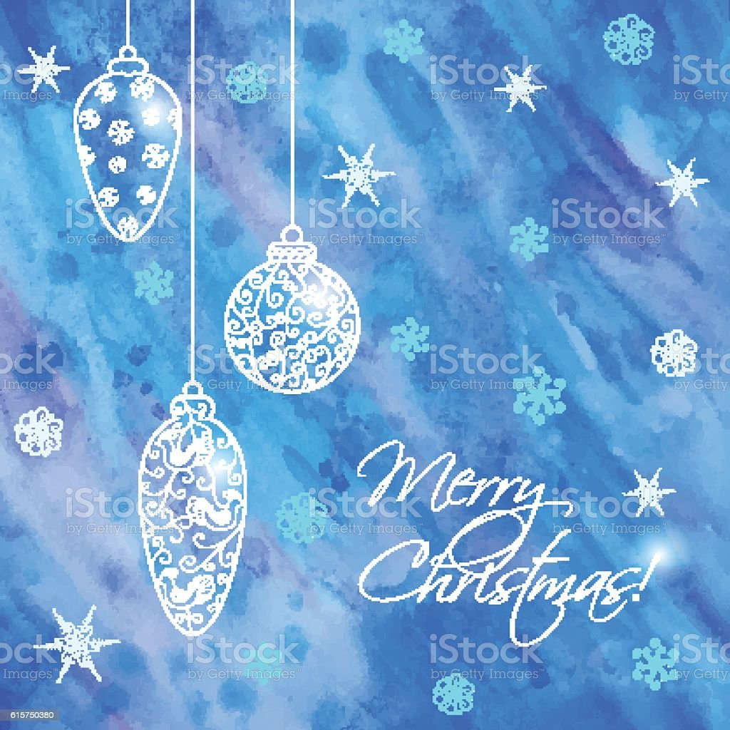 Christmas hand-drawn card with balls vector art illustration