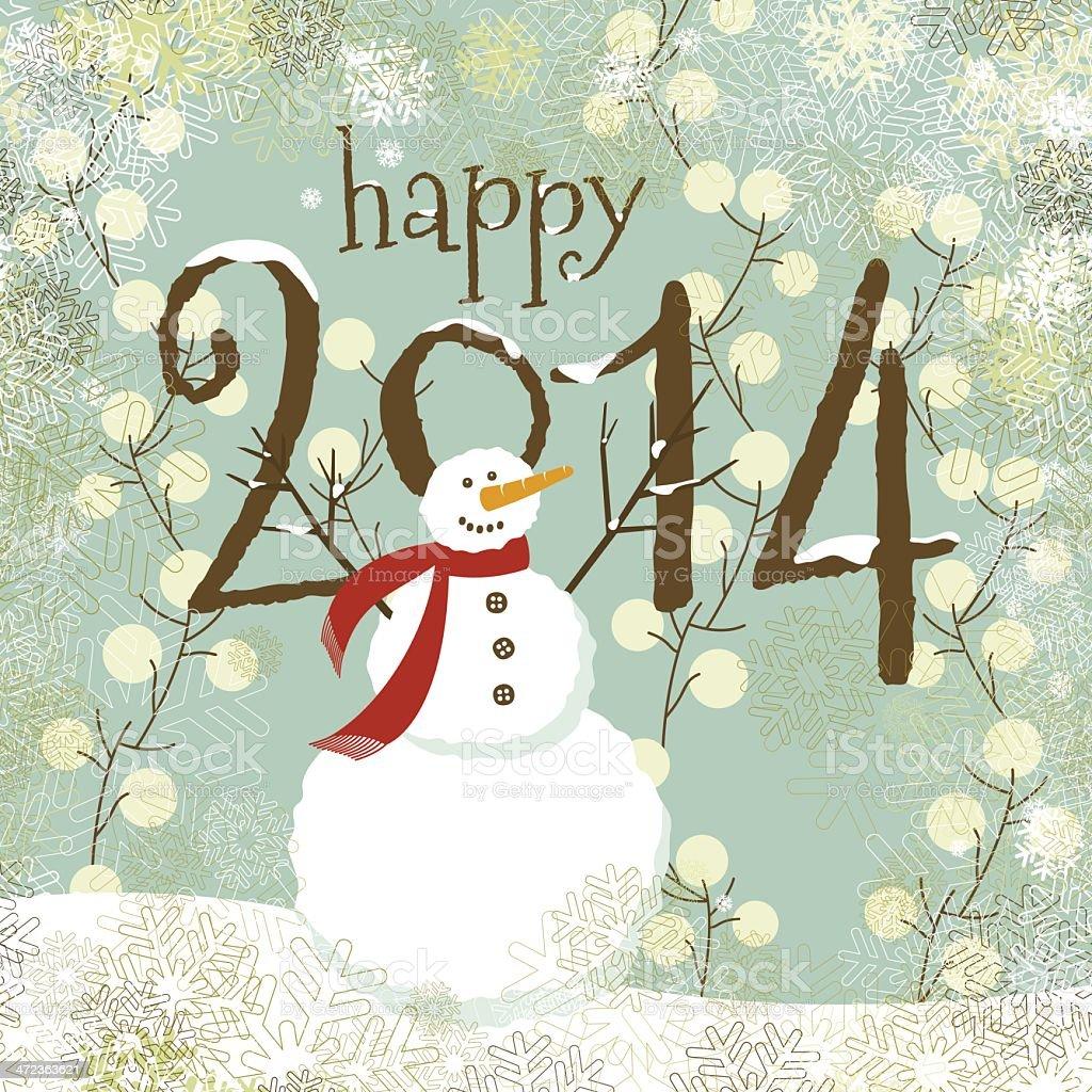 Christmas Happy 2014 new year's snowman royalty-free stock vector art