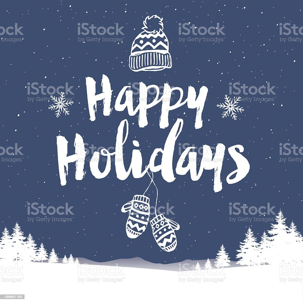 Christmas Happy Holidays Hat and mittens in the snow vector art illustration