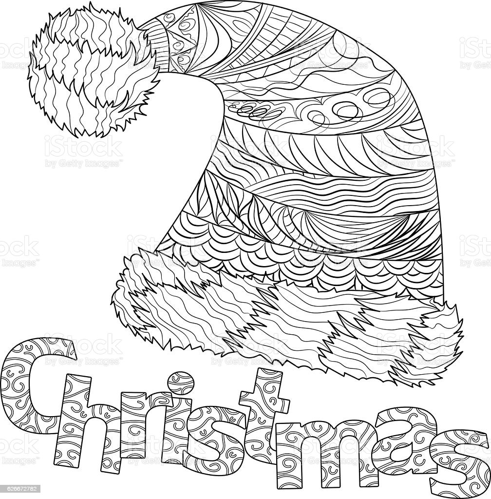 Christmas hat with pattern for adult coloring book vector art illustration